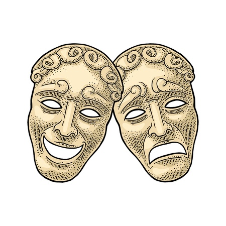 Comedy and tragedy theater masks. Vector engraving vintage color illustration. Isolated on white background. Hand drawn design element for poster