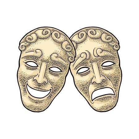 Máscaras de teatro de comedia y tragedia. Ilustración de color de la vendimia del grabado del vector. Aislado sobre fondo blanco. Elemento de diseño dibujado a mano para cartel.