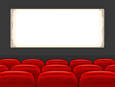 Movie theater screen and row of seats. Vector engraving vintage black illustration. Isolated on white background. Hand drawn design element for poster Illustration