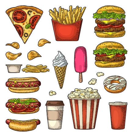 Set fast food. Cup cola, coffee, hamburger, pizza, hotdog, fry potato, carton bucket popcorn, ketchup, donut, ice cream, chips. Vector vintage color engraving illustration isolated on white Banque d'images - 108383310