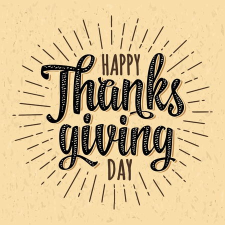 Happy Thanksgiving day calligraphy lettering with ray black isolated on beige craft paper texture. Banque d'images - 109948436