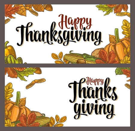 Template for greeting card and poster Thanksgiving day with pumpkin, corn, leaf maple, acorn, seed chestnut. Vector vintage color engraving illustration isolated on white background. Vettoriali