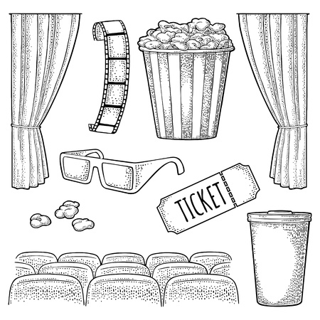 Cinema set. Popcorn, cup beverages with straw, ticket, film strip, 3D color glasses, curtain, screen, row of seats. Vector engraving vintage black illustration. Isolated on white background. For poster Illustration