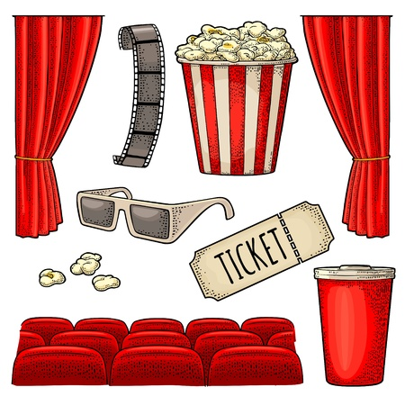 Cinema set. Popcorn, cup beverages with straw, ticket, film strip, 3D color glasses, curtain, screen, row of seats. Vector engraving vintage color illustration for poster. Isolated on white background