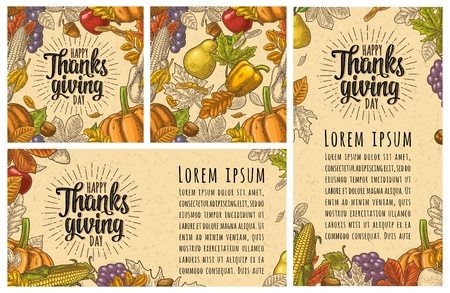 Seamless pattern for Thanksgiving Day. Vintage engraving Zdjęcie Seryjne
