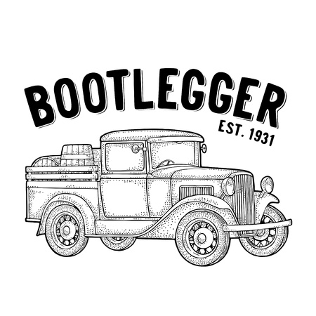 Retro pickup truck with wood barrel. Side view. Bootlegger lettering. Vintage black engraving illustration. Isolated on white background. Hand drawn design element for label, signboard and poster Stock Illustratie