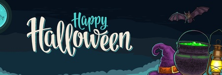 Horizontal poster with Happy Halloween handwriting calligraphy lettering. Bat, lamp, moon, witch hat, magic pot. Vector color vintage engraving illustration on night sky Stock Illustratie
