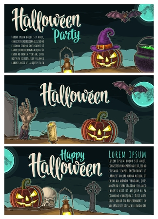 Horizontal poster with Halloween party calligraphy lettering. Vector engraving