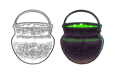 Halloween cauldron. Magic Pot with bubbles. Vector color vintage engraving illustration. Isolated on white background Stock Illustratie