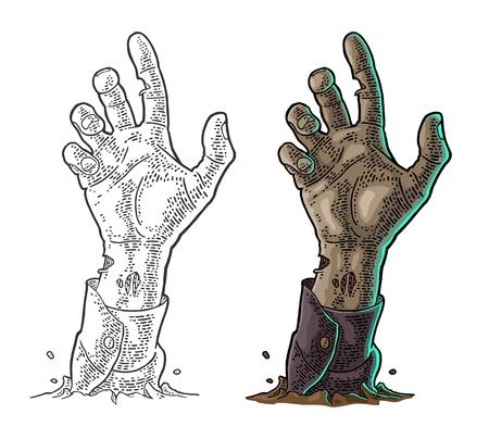Zombie Hand mit Klaue. Vector schwarzer Weinlesegravur