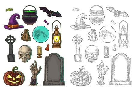 Set for Halloween Party. Pumpkin with scary face, bat, skull, bag, candle, witch hat, candy, hand, cauldron, cross, grave,. Vector color vintage engraving illustration isolated on white background