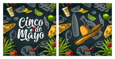 Seamless pattern mexican food and Cinco de Mayo handwriting lettering. Vector Illustration