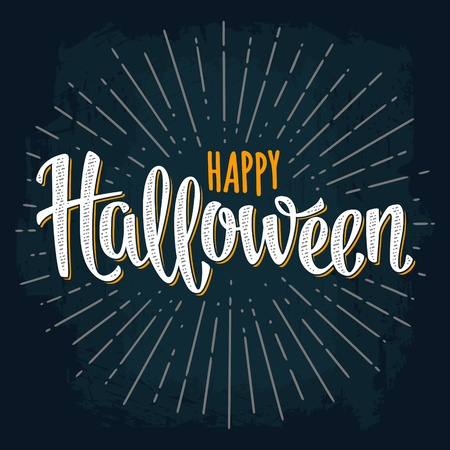 Happy Halloween handwriting calligraphy lettering and ray. Vector color vintage illustration isolated on dark background