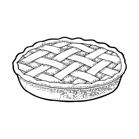 Whole homemade apple pie. Vector black vintage engraving illustration for poster, label and menu bakery shop. Isolated on the white background. Hand drawn design element