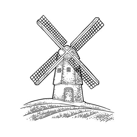 Windmühle auf Weizenfeld. Weinlesevektorschwarzgravurillustration für Etikett, Abzeichen, Plakat, Web, Symbolbäckerei. Auf weißem Hintergrund isoliert