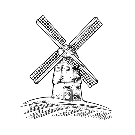 Windmill on wheat field. Vintage vector black engraving illustration for label, badges, poster, web, icon bakery shop. Isolated on white background