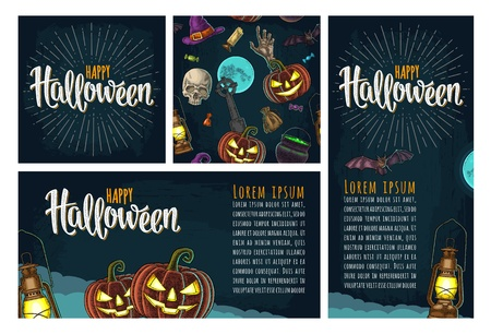 Seamless pattern for Halloween party. Vintage color engraving Stock Vector - 109180537
