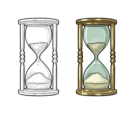 Retro hourglass. Vector color vintage engraving illustration isolated on white background. Hand drawn design element for label, poster