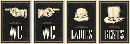 Vintage Retro-Schmutzplakat der Toilette. Damen, Cent, Zeigefinger. Vektorweingravurillustration auf beigem Hintergrund. Für Bars, Restaurants, Cafés, Pubs.