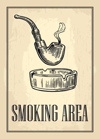 Retro poster - The Sign Smoking AREA in Vintage Style. Illustrazione incisa vettoriale isolato su sfondo scuro.