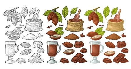 Trozo de chocolate, barra, afeitado. Frutos de cacao con hojas y frijoles. Vector vintage negro y grabado en color e ilustración plana. Aislado sobre fondo blanco. Elemento de diseño dibujado a mano para etiqueta