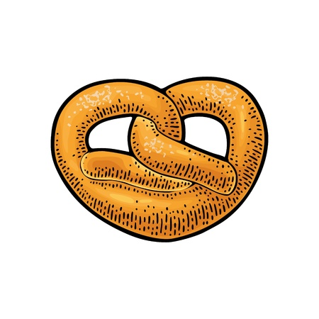 Pretzel. Vector color hand drawn vintage engraving 写真素材 - 112626666
