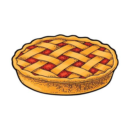 Torta di mele fatta in casa intera. Incisione vintage vettoriale nero Archivio Fotografico