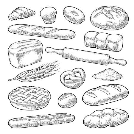 Brot setzen. Auf dem weißen Hintergrund isoliert. Vektorschwarze Hand gezeichnete Weinlesegravurillustration für Plakat-, Etiketten- und Menü-Bäckereiladen.