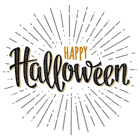 Happy Halloween handwriting calligraphy lettering and ray. Vector color vintage illustration isolated on white background