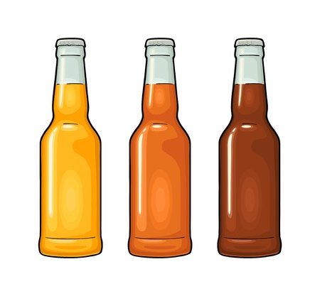 Close bottle with three types beer. Vector color illustration.