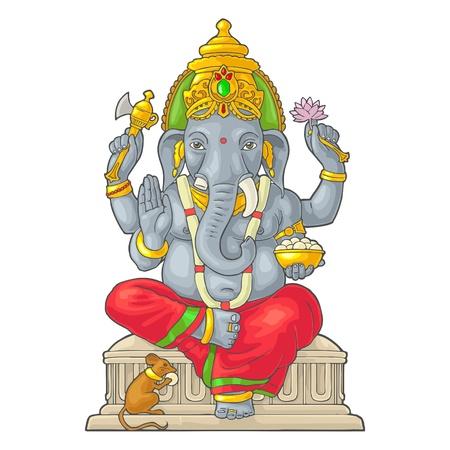 Ganpati avec la souris pour l'affiche Ganesh Chaturthi. Gravure vecteur vintage Vecteurs