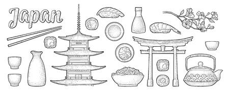 Set Japan. Fuji, pagoda, sushi, sakura. Vintage engraving Stock Vector - 112626682