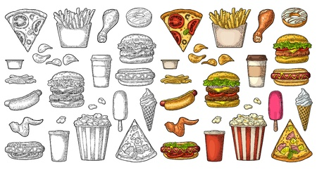 Set fast food. Coffee, hamburger, pizza, hotdog, fry potato, popcorn