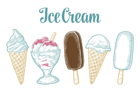 Set ice cream. Vector vintage black engraving