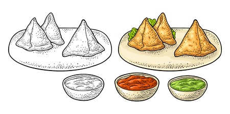 Samosa on board with sauces in bowl. Vector color engraving