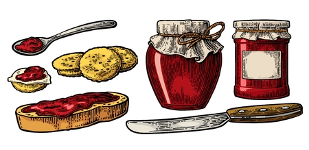 Jar with packaging paper, spoon, knife and slice of bread with jam.