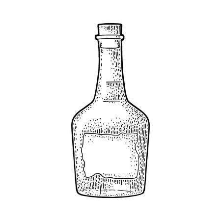 Bottle rum with craft label. Vintage vector black engraving illustration. Isolated on white background. Hand drawn design element for label, poster, web, invitation to party Illustration