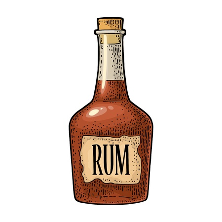 Bottle rum with craft label. Vintage vector black engraving illustration.