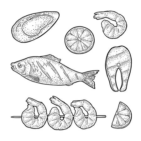 Set sea BBQ top view. Grilled whole and steak fish, oyster, shrimp, lemon. Vintage black vector engraving illustration. Isolated on white background. Hand drawn design element Illustration