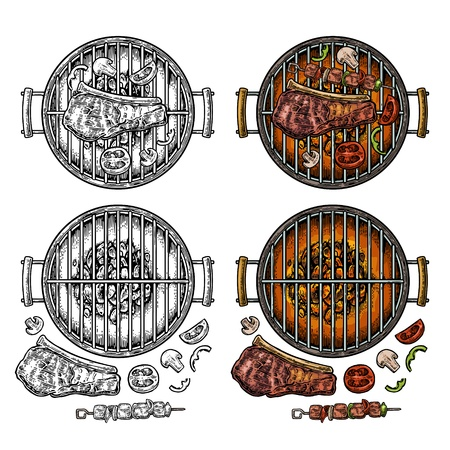 Barbecue grill top view with charcoal, kebab, mushroom, tomato, pepper and beef steak. Vintage color and black vector engraving illustration isolated on white background. Hand drawn design element