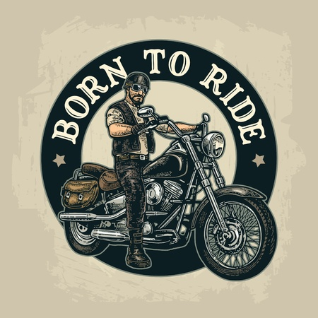 Biker riding a motorcycle. Vector engraved illustration