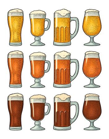 Quatre verres différents avec trois types de bière. Gravure couleur vintage Vecteurs