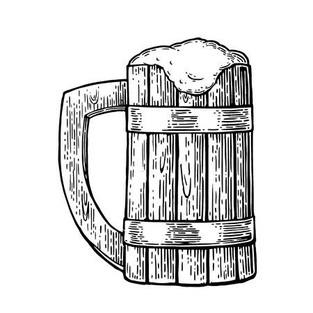 Wooden mug with beer and foam. Hand drawn vector vintage engraving illustration isolated on on white background