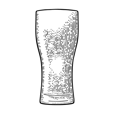 Empty glass beer. Vector black vintage engraving isolated on white background. Hand drawn illustration. 일러스트
