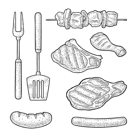 Barbecue grill top view charcoal, kebab, mushroom, tomato, pepper, steak