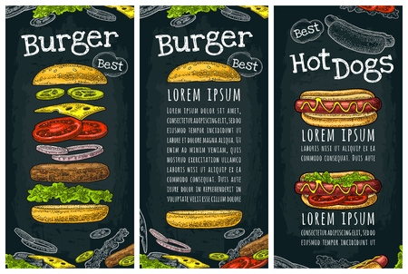 Hotdog with tomato, mustard, leave lettuce and burger with flying ingredients. Vector color vintage engraving illustration. Isolated on dark background. Vertical template menu, poster, menu, banner Ilustracja