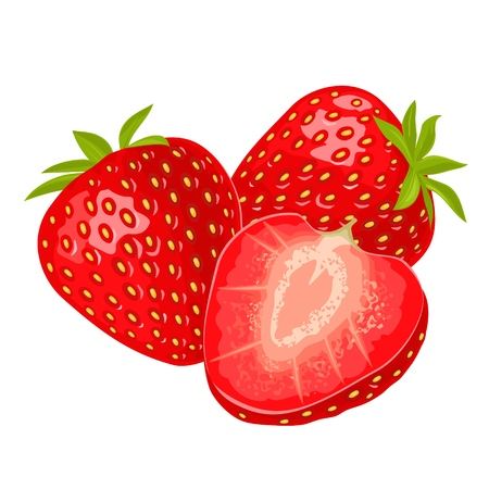 Whole and slice strawberry. Vector color flat illustration Stock Photo