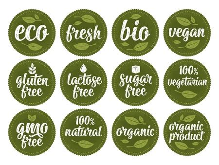 Senza glutine, lattosio, zucchero, scritte OGM free. Firma cibo biologico al 100% Vettoriali