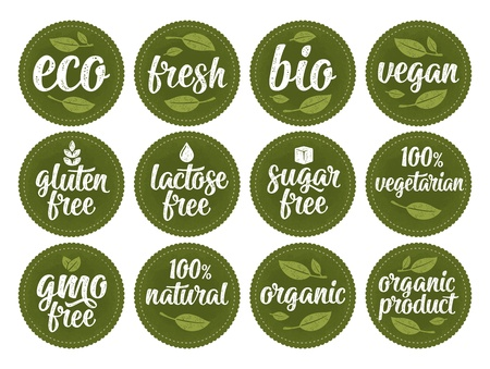 Gluten, lactose, sugar, gmo free lettering. Sign 100% organic food