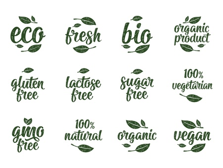 Gluten, lactose, sugar, Gmo free, bio, eco, fresh calligraphic handwriting lettering with leaf, cube, drop. Vector white vintage illustration on white. Sign for 100% natural organic food sticker Stok Fotoğraf - 111552634